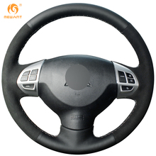 MEWANT Black Genuine Leather Black Suede Car Steering Wheel Cover for Mitsubishi Lancer EX Outlander ASX Colt Pajero Sport