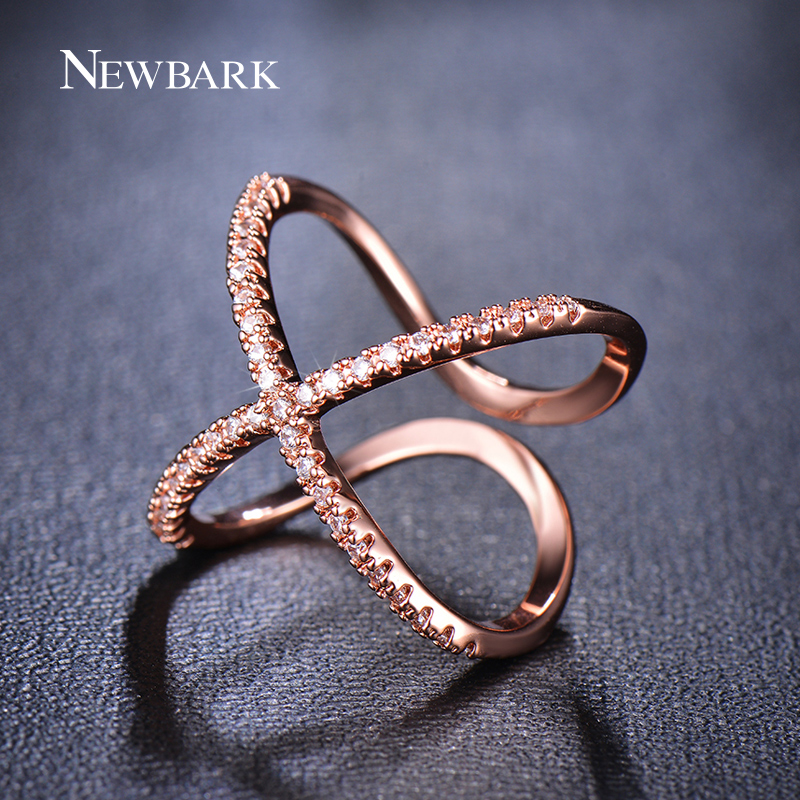 NEWBARK Hot! Letter X Shape Ring For Women Adjustable Micro Paved ...