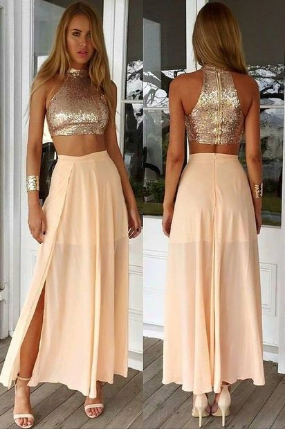 c62c3774390b 2017 Sexy Two Pieces Light Pink Prom Dress Chiffon Sequins Top Long 2 Piece  Prom Dresses Party Dress robe de bal Vestido