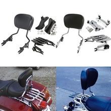 купить Motorcycle Detachable Backrest Sissy Bar Luggage Rack For Harley Road King Road Glide Street Glide CVO 2014-2019 2018 дешево