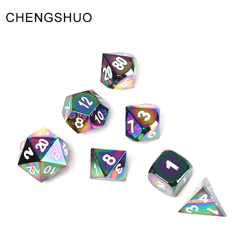 Chengshuo rpg metal dice dnd Polyhedral sleeve dragon and dungeon table game dice 7pac set colour digital zinc alloy d20 8 10 12