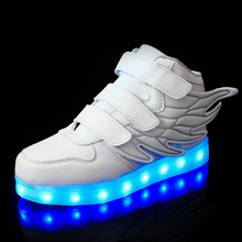 Wings Kids Flash Led Light Up Shoes 7 kinds of Color Leather Hook & Loop Boys Girls Glowing Shoes Children Luminous Sneakers kids shoes led glowing sneakers children 7 colors light up luminous sole girls boys casual shoes kids usb charging sneakers