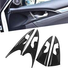 In Fibra di carbonio Modanature interne Interno Ciotola Maniglia della Porta del Pannello di Copertura Trim Per Honda Civic 10th 2016 2017 CON GUIDA A SINISTRA