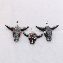 Fashion buffalo Head pendant , Bull Cattle Charm Bead Longhorn Resin Horn Cattle Pendant for Jewelry Accessories mix color 893