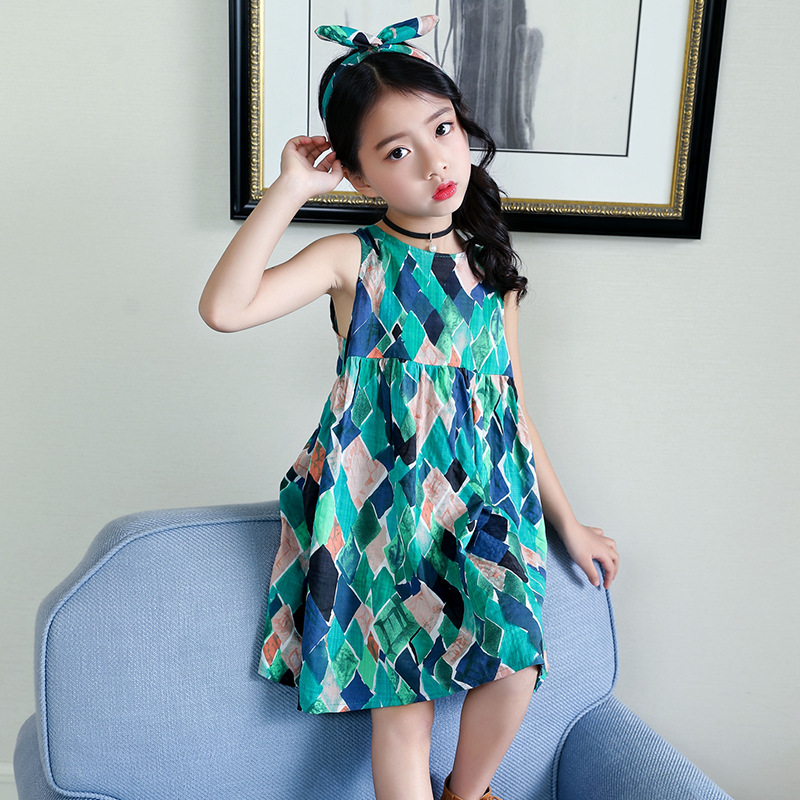 cotton big girl summer dress baby 2018 new kids printed teenage girls a line princess dresses children sleeveless dress clothing