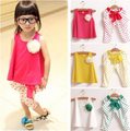 Retail Girls Set shirt+pants NEW 2017 new children's clothing summer set child flower female vest polka dot harem pants twinset