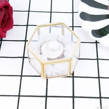 Geometric Clear Glass Jewelry Box Organizer Holder Tabletop Succulent Plants Container Home Storage