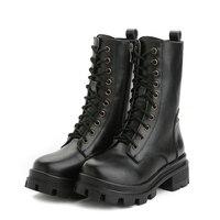 2017 Đen New Designer Phụ Nữ Nửa Boots Đi Xe Máy Khởi Động cao Gót Chân Bò Leather Boots Punk Gothic Nền Tảng Ren Lên giày