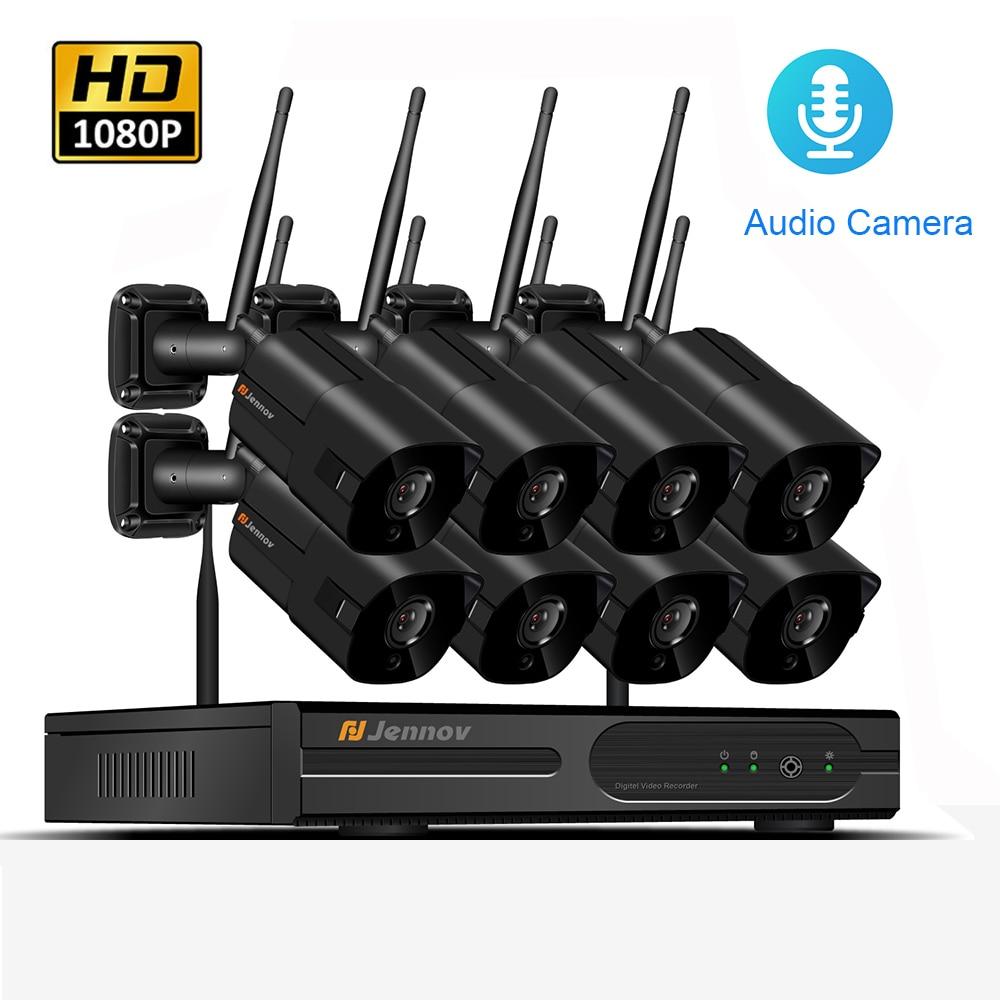 цена на 8CH Wireless NVR HD 1080P 2MP Outdoor Home Security Camera System CCTV Video Surveillance Audio Record NVR Kit Wifi Camera Set