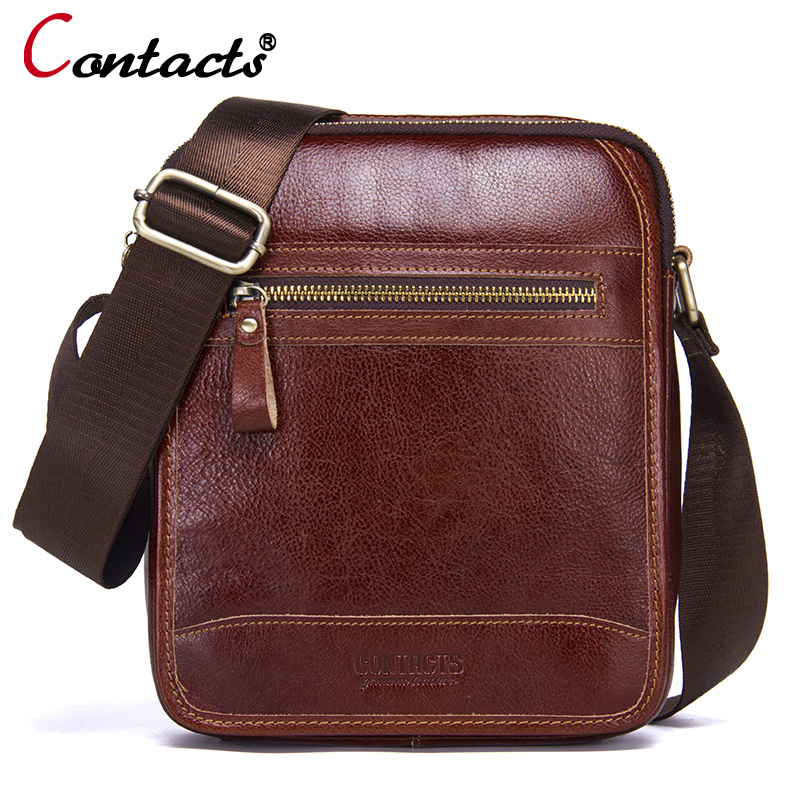 CONTACT'S Men bags genuine leather men messenger bag men leather handbags male Shoulder bag briefcase vintage bags New 2018
