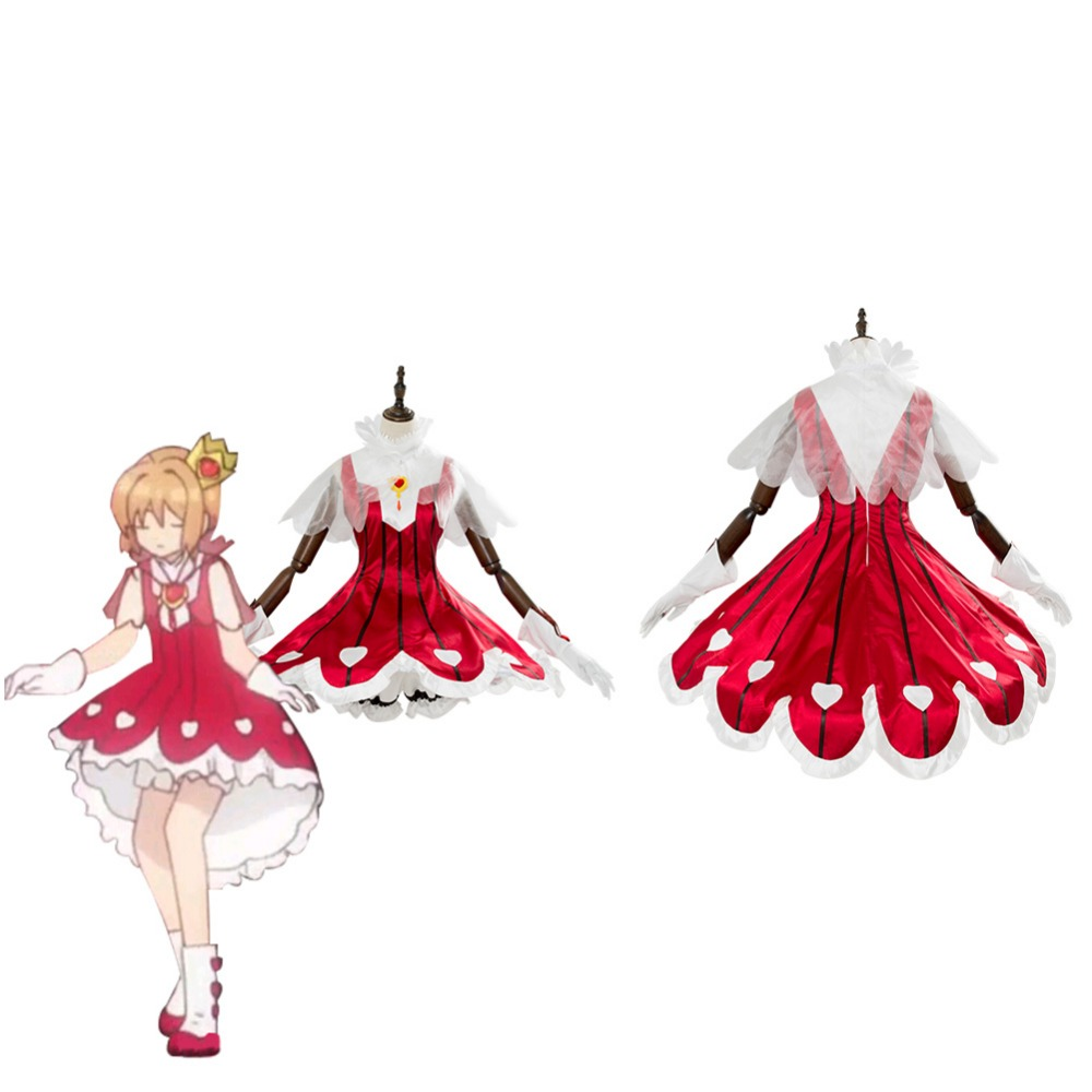 Cardcaptor Sakura Cosplay Costume CCS Clear Card Arc Sakura Rose Heart Rocket Beat Dress Women Girls Halloween Carnival Costumes