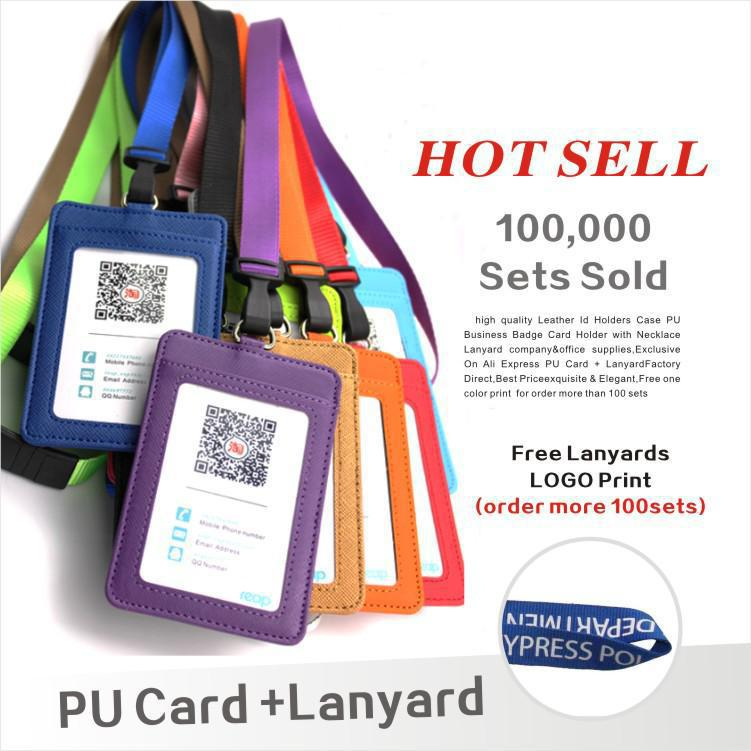 Leather  Id Holders Case PU Business Badge Card Holder  With Necklace Lanyard  LOGO Customize Print Company&office Supplies