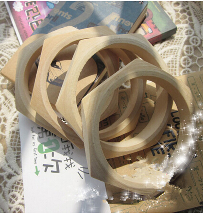 Wooden bracelet blanks Faceted wood bangles for painting craft material 50Pcs/lot-in Bangles from Jewelry & Accessories    2