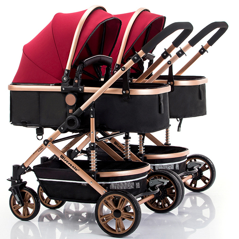 Detachable Twin Baby Stroller Can Sit Reclining Shock Foldin