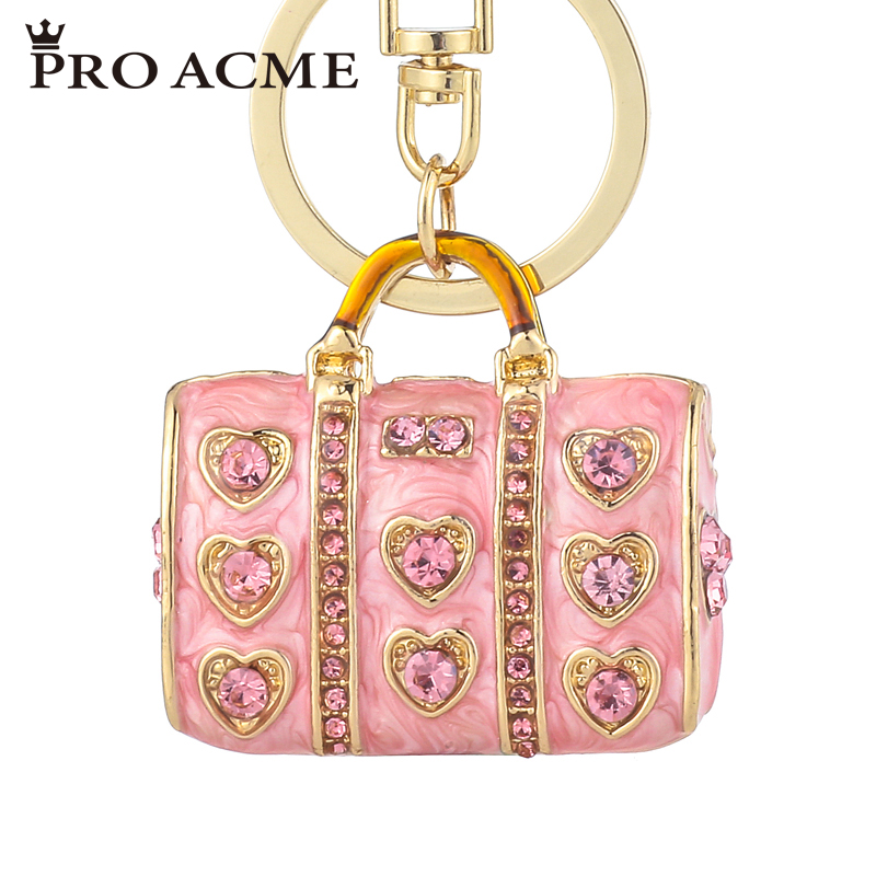 Pro Acme Exquisite Enamel Love Charm Bag Keychains for Women Crystal  HandBag Pendant Accessories Fashion Car Key Holder PWK0845-in Key Chains  from