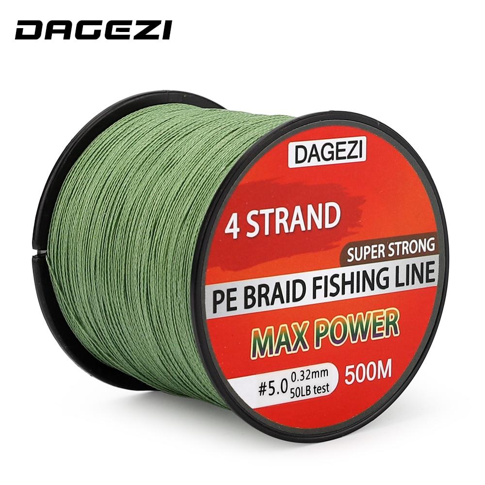 DAGEZI 500m 10-90LB 4-Strang-Flechtleinen Super Strong Multifilament 100% PE Geflochtene Angelschnur