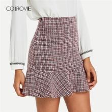 e26a5d81e2 COLROVIE volantes dobladillo trabajo Bodycon elegante Mini falda Vintage  Otoño de 2018 de cintura alta para mujeres faldas clási.