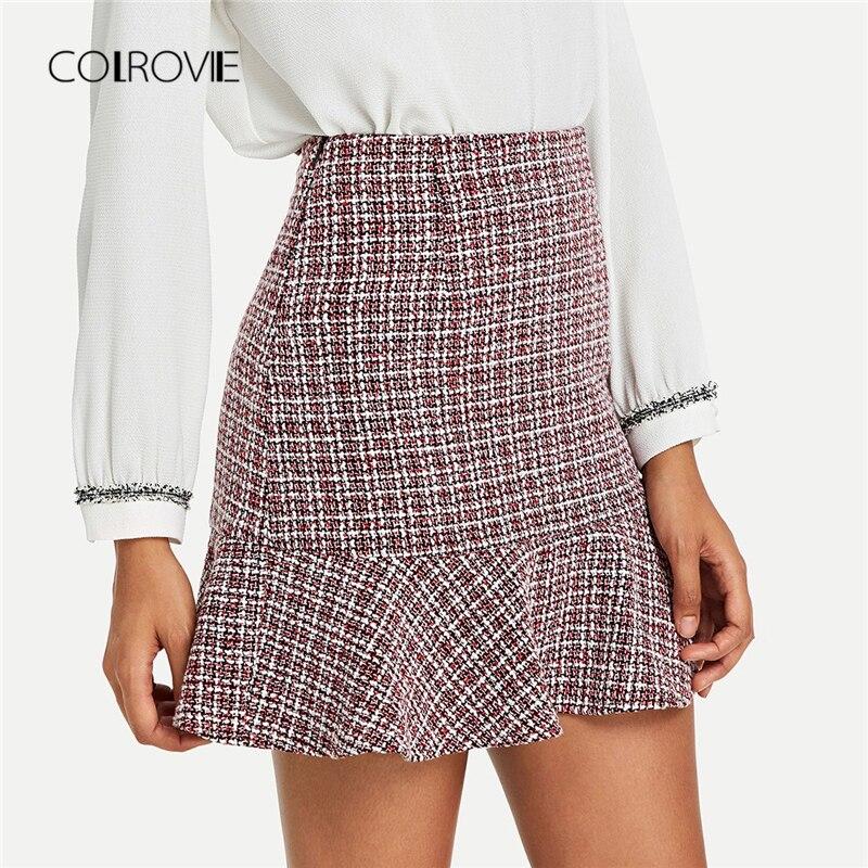 COLROVIE volantes dobladillo trabajo Bodycon elegante Mini falda Vintage Otoño de 2018 de cintura alta para mujeres faldas clásico Fondo faldas