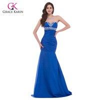 2016 Royal Blue Mermaid Evening Dresses Grace Karin Beaded Sequins Taffeta Long Formal Dresses Women Elegant