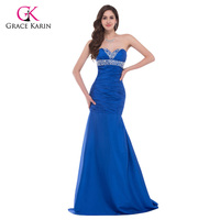 2016 Royal Blue Mermaid Evening Dresses Grace Karin Beaded Sequins Taffeta Long Formal Dresses Women Elegant