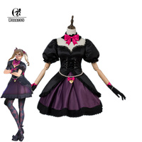 ROLECOS Game OW Over Cosplay Song Hanna DVA Cosplay Costumes Black Cat Costumes Gothic Lolita Dress for Girl Women Halloween