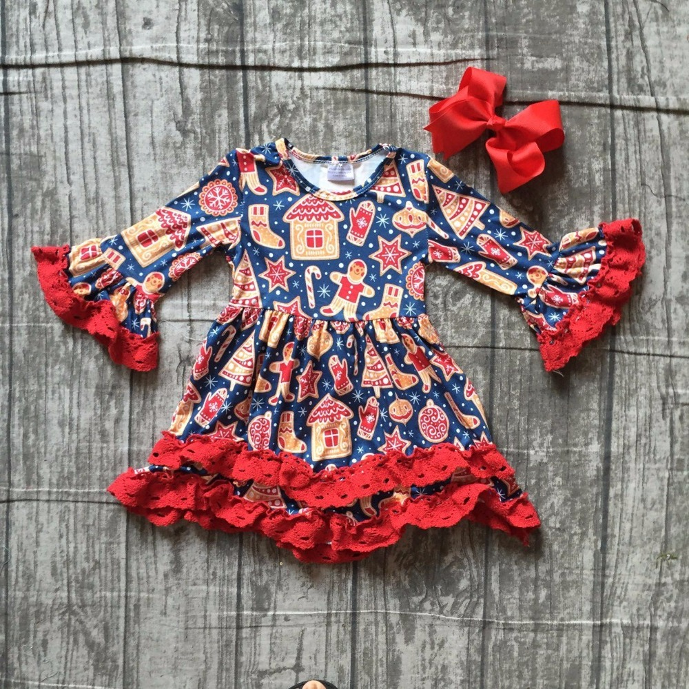 baby girls Fall/ Autumn dress children girls Christmas dress long sleeve dress with red lace ruffle boutique dress with bows batwing sleeve pocket side curved hem textured dress