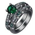 Multi cor Mista Verde Anéis define preto banhado a ouro cz zircon Anel de Noivado Jóias vintage presente para as mulheres Frete grátis