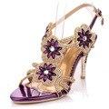 Модные высокие каблуки женщин сандалии элегантные горный хрусталь сандалии тонкие высокие каблуки лето овчины обувь для партии дамы sandalias