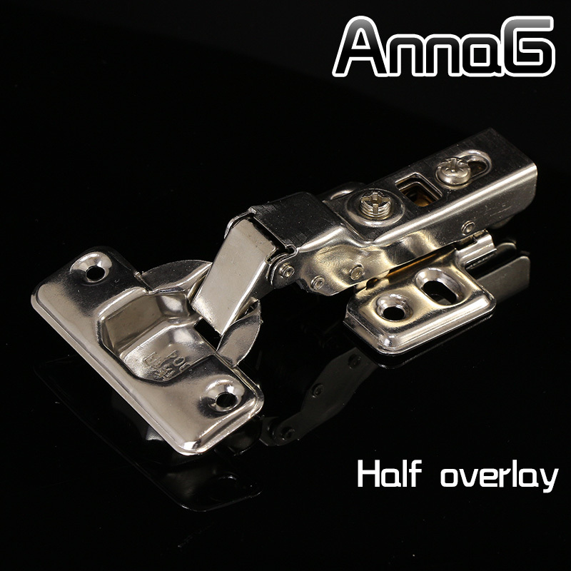 Half overlay  cup soft close cabinet hydraulic hinges kitchen door hinges brass Stainless steel 2pcs set stainless steel 90 degree self closing cabinet closet door hinges home roomfurniture hardware accessories supply