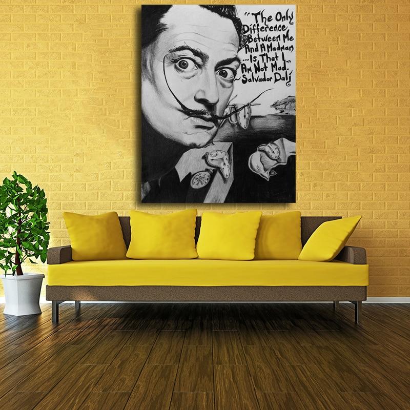 Salvador Dali black and white Pop Art Oil Painting Face Portrait ...