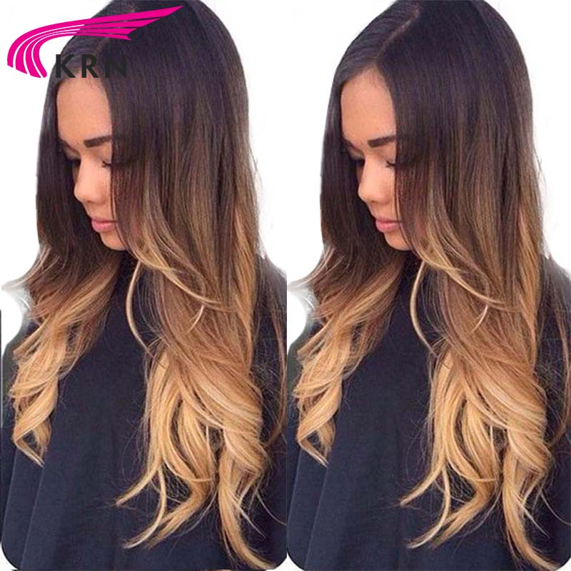 Ombre Lace front Human Hair Wig Remy Brazilian Body Wave Hair 130 Density Ombre Color 1b