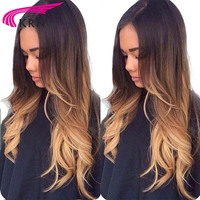 Ombre Lace front Human Hair Wig Remy Brazilian Body Wave Hair 130% Density Ombre Color 1b/4/27 Human Hair Wig With Baby Hair KRN