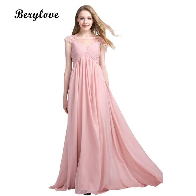 BeryLove Long Blush Pink Evening Dresses 2018 Lace Chiffon Prom ...
