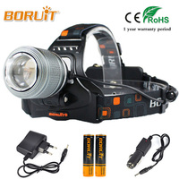 BORUIT 3800LM T6 LED Headlight 3 Modes White Light Headlamp 18650 Battery Rechargeable Head Torch For