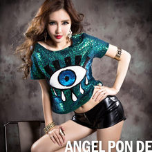 2016 Sexy Ladies Nightclub Sequined Top Tee Short Blue Crop Tops for Women Punk Hip Hop Dancing T-shirts Vinage Fashion Tshirt
