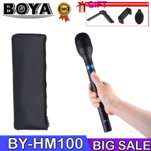 BOYA BY-HM100 Microphone Omni-Directional Wireless Handheld Dynamic Microphone XLR Long Handle for ENG Interviews News Gathering boya by wm6 uhf professional omni directional lavalier wireless microphone recorder system for eng efp dv dslr camera camcorders