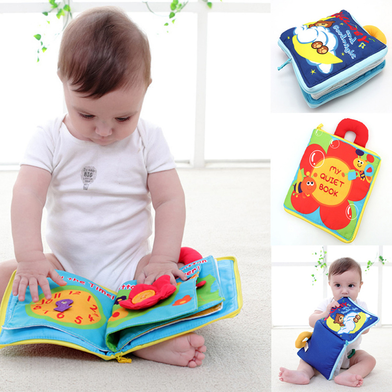 Soft Cartoon Quiet Cloth Books For Newborn Children Educational Baby Rattles Infant Early Cognitive Development Activity Books 2018 infant early cognitive development my quiet books soft books baby goodnight educational unfolding cloth books activity book
