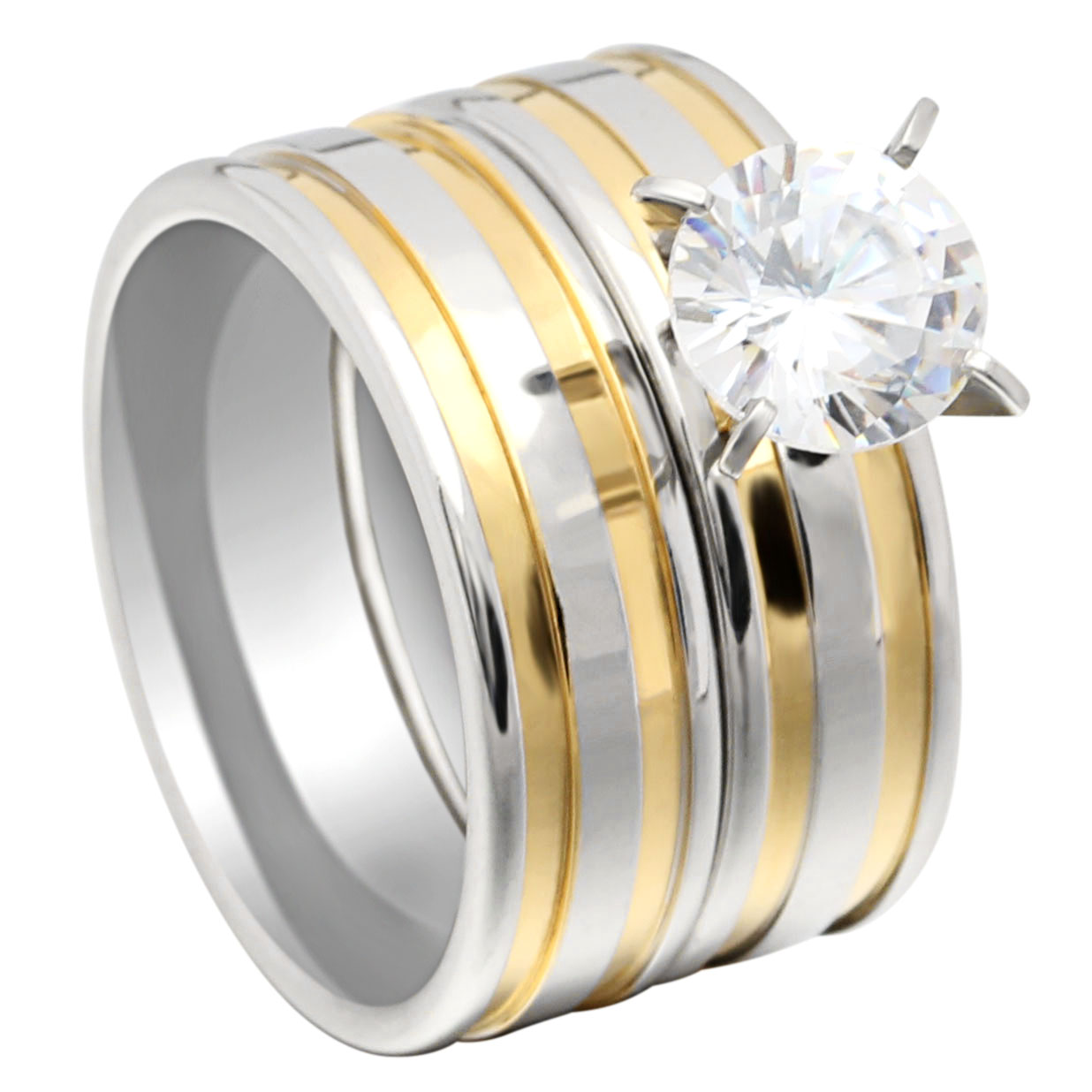 Hainon Fashion Engagement Wedding Ring Sets Stainless Steel Ring Sets for Women Rhinestone Cz Silver&Gold Color Jewelry