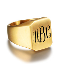 Personalized Stainless Steel Fashion Engrave Ring For Men
