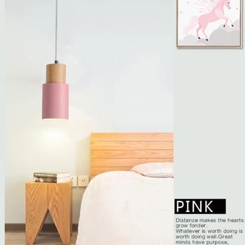Designer Nordic simple Wood Pendant Lights led hang lamp Colorful Aluminum fixture  Kitchen Island bar hotel home decor E27 4