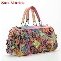 San Maries Women Soft Genuine Leather Messenger Bags Cow Leather Flower Shoulder Bag Women 2019 Tote Ladies Cowhide Handbag