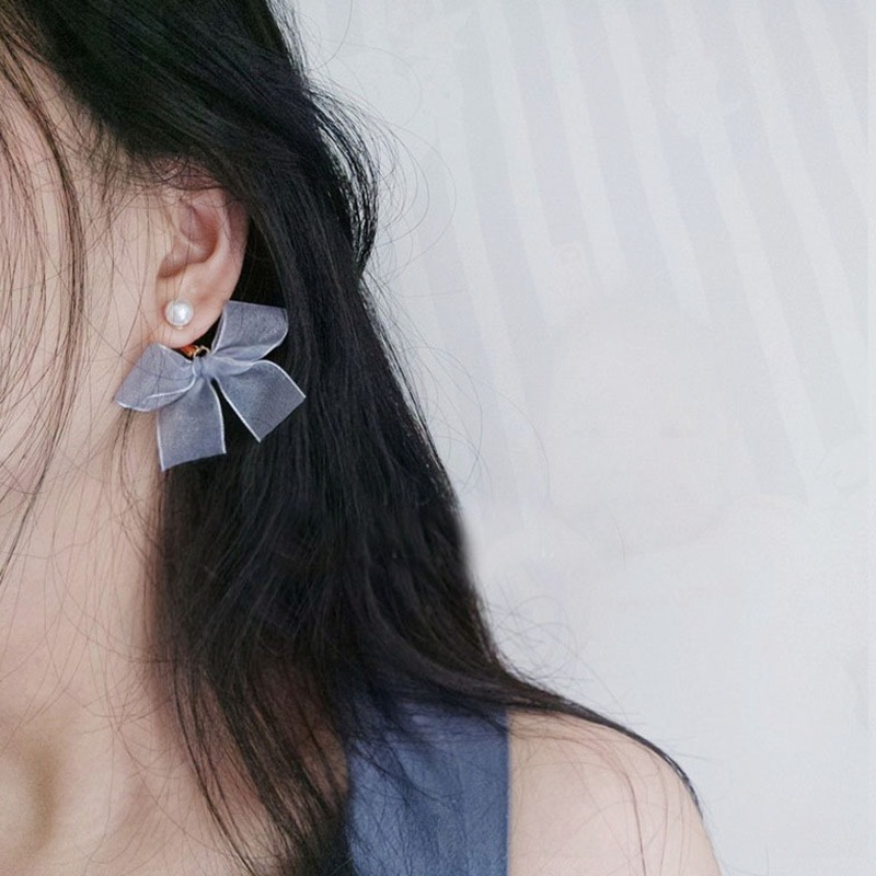 Grey Bow Pearl Earrings For Women Korean Fashion Simple Sweet Small Fresh Temperament