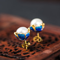 Natural White Pearl Blue Cloisonne Enamel 925 Sterling Silver Stud Earrings