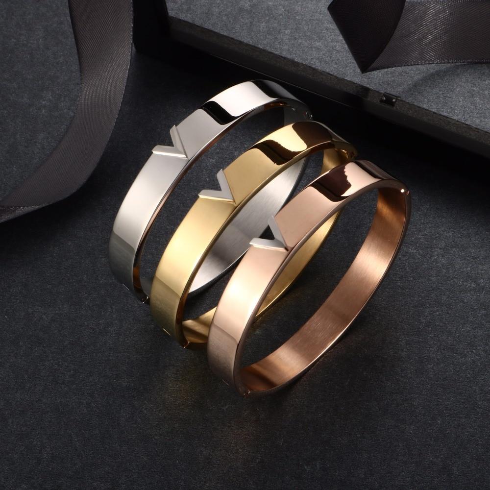 Trendy V Shape RVS Armbanden & Bangles voor vrouwen Vrouwelijke - Mode-sieraden - Foto 4
