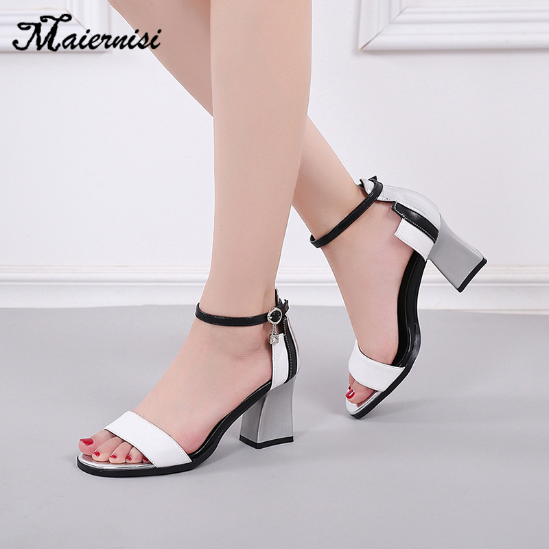 MAIERNISI Women's Sandals Footwear Buckle-Strap Chunky Gladiator Fashion Woman Summer