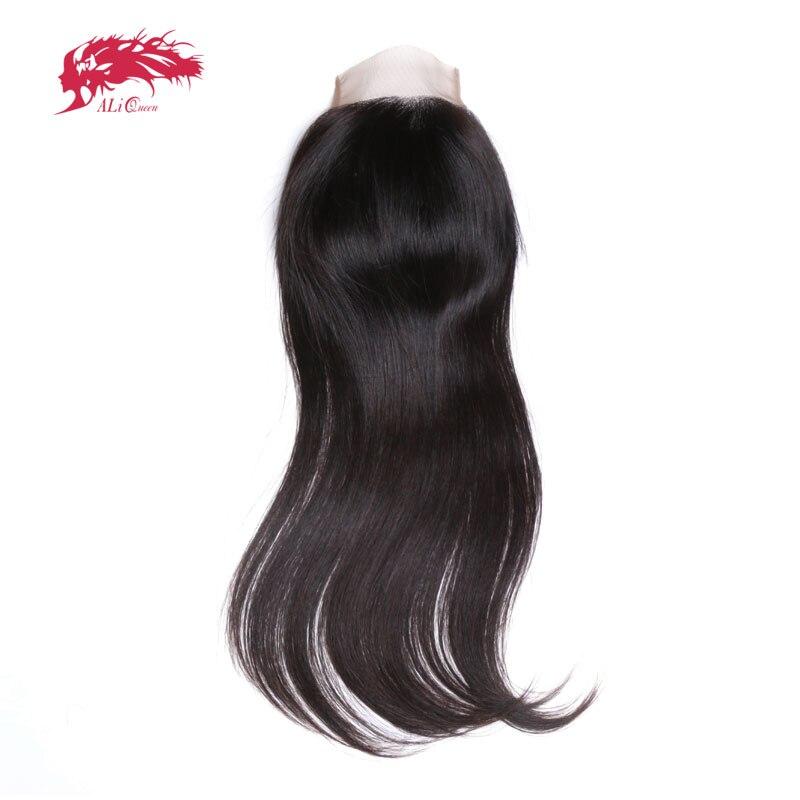 Али Queen Hair бразильский прямо закрытия шнурка 4*4 натуральный Цвет 100% Волосы Remy Закрытие Бесплатный Часть/средняя часть 10 до 20 дюймов