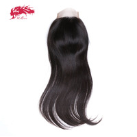 Ali Queen Hair Brazilian Straight Lace Closure 4*4 Natural Color 100% Remy Hair Closure Free Part / Middle Part 10 to 20inch