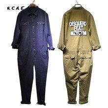 2017 New Spring Autumn Mens Fashion Khaki And Dark Blue Long Sleeves Slim Bib Overalls Casual Pants Denim Jumpsuits Jeans