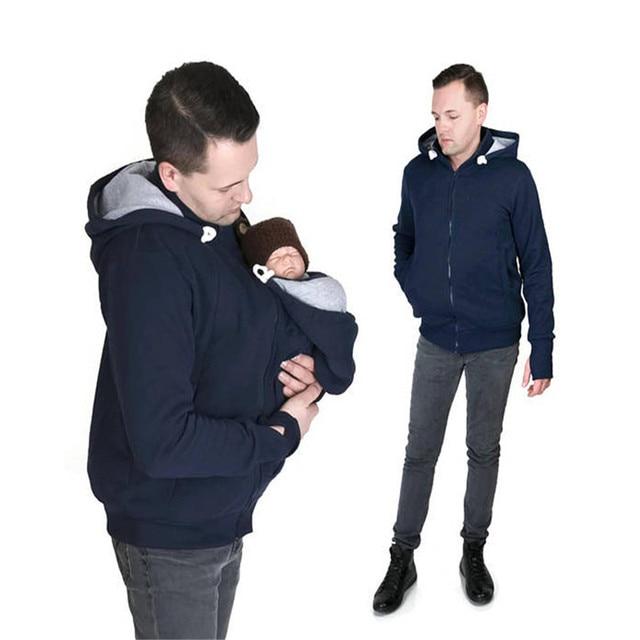2 In1 Kangaroo Baby Carrier Jackets Farther With Nursing Bag Dad Coat Hoodies Wearing Carry Infant Sweatshirt Baby Wearing Coat