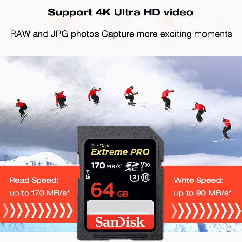 Sandisk Extreme Pro Sd Kaart Sdxc 64G 128G 256G Tot 170 Mb/s UHS-I Class10 Sdhc 32G Tot 95 Mb/s Geheugenkaart 4K Voor Slr Camera